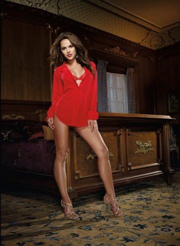 DreamGirl Office Affair Ruby Red Chiffon Sleep Shirt with Matching Bra and Thong 4820