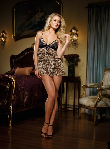 DreamGirl Dangerous Affair Chiffon Tiered Babydoll Tedy with Matching Thong 7861