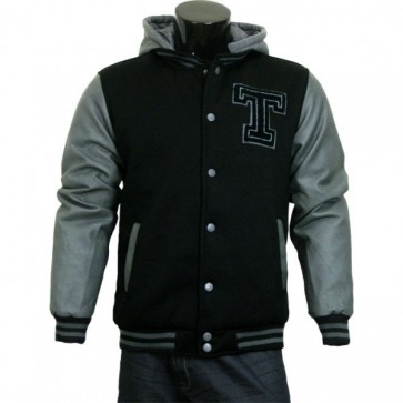 Varsity Jacket - Baseball Jacket - Letterman Jacket Men's Black Fleece Body and Gray Pleather Sleeves with Letter 'T'