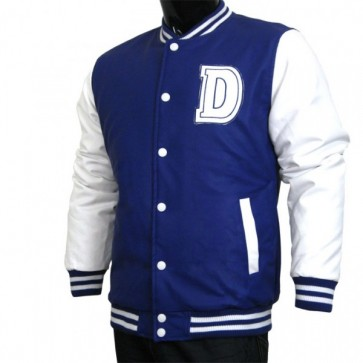 Varsity Jacket - Baseball Jacket - Letterman Jacket Men's All Pleather Jacket Navy and White with Letter 'D'