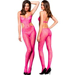 Pink Lace Cut Out Crotchless Body Stocking