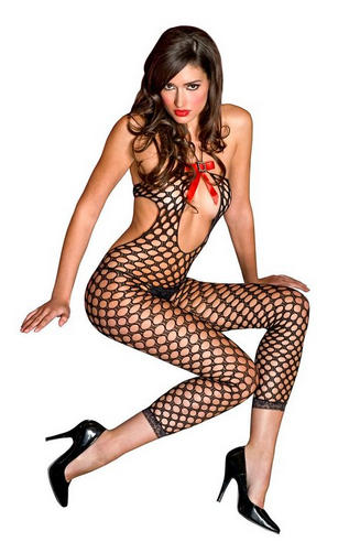 MUSIC LEGS Women's Footless Cut Out Halter Keyhole Front Crotchless Bodystocking