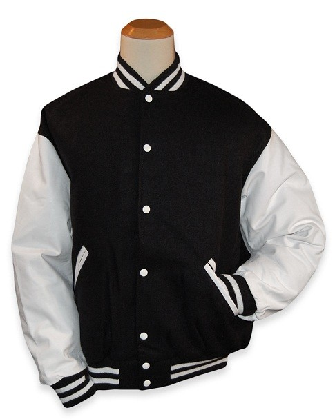 aafb8bc2a5 Varsity Jacket - Baseball Jacket - Letterman Jacket Men's Wool Blend with  Leather Look Sleeve - Black Body With White Sleeves