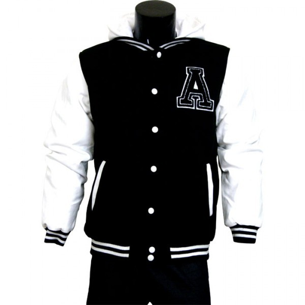 varsity jacket baseball jacket letterman jacket mens black fleece body and white pleather sleeves with letter a
