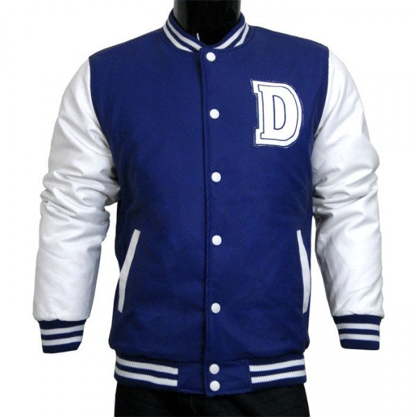varsity jacket baseball jacket letterman jacket mens all pleather jacket navy and white with letter d
