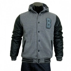 Varsity Jacket - Baseball Jacket - Letterman Jacket Men's Gray Fleece Body and Black Pleather Sleeves with Letter 'B'
