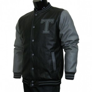 Varsity Jacket - Baseball Jacket - Letterman Jacket Men's All Pleather Jacket Black and Gray with Letter 'T'