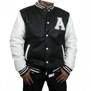 Varsity Jacket - Baseball Jacket - Letterman Jacket Men's All Pleather Jacket with Letter 'A'
