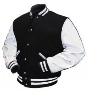 Baseball Jacket - Black Wool, White Pleather Sleeves with Lining